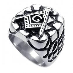 Prsten z chirurgické oceli - Zednářský znak
