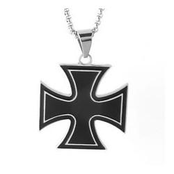 Ocelový přívěsek - Černý kříž