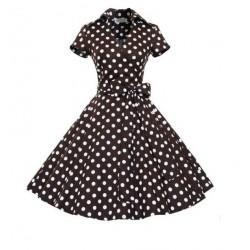 Dámské retro šaty - Brown Polka