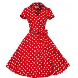Dámské retro šaty - Red Polka