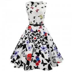 Dámské retro šaty - Butterflies and Flowers