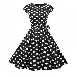 Dámské retro šaty - Black Polka