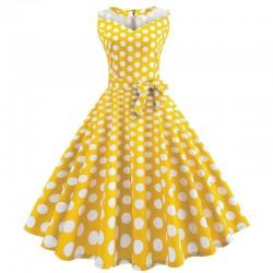 Dámské retro šaty - Yellow Polka