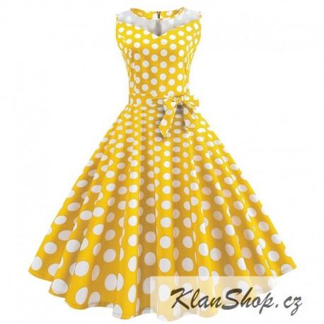 1c5534d442e8 Dámské retro šaty - Yellow Polka - KlanShop