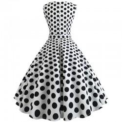 Dámské retro šaty - White Polka