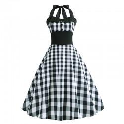Dámské retro šaty - Checkered White