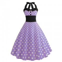 Dámské retro šaty - Checkered Violet