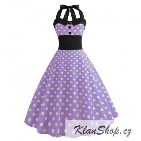 89a2e1704c58 Dámské retro šaty - Checkered Violet - KlanShop