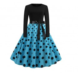 Dámské retro šaty - Blue Polka