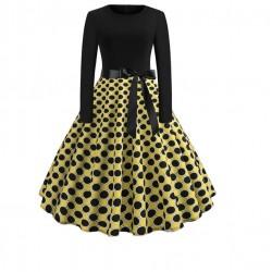 Dámské retro šaty - Black and Yellow Polka