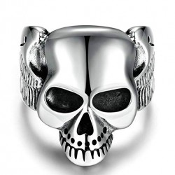Prsten z chirurgické oceli - Lebka s křídly