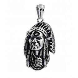 Ocelový přívěsek - Indián s čelenkou