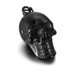 Ocelový přívěsek - Černá lebka