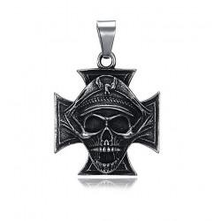 Ocelový přívěsek - Kříž s lebkou