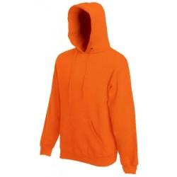 Pánská mikina s kapucí bez potisku - Oranžová