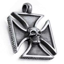 Ocelový přívěsek - Chopper kříž s lebkou