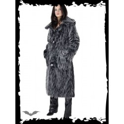 Dámský kabát Queen Of Darkness - Long black / grey fur coat