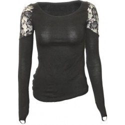 Dámské tričko Spiral Direct - Shoulder Lace Top Black