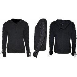Dámská mikina Spiral Direct - Laceup Full Zip Glitter Hoody Black