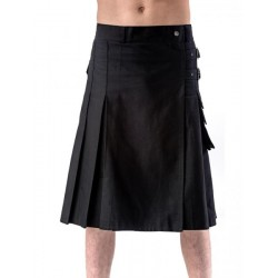 Pánský kilt Queen Of Darkness - Black kilt with buckles and side pocket