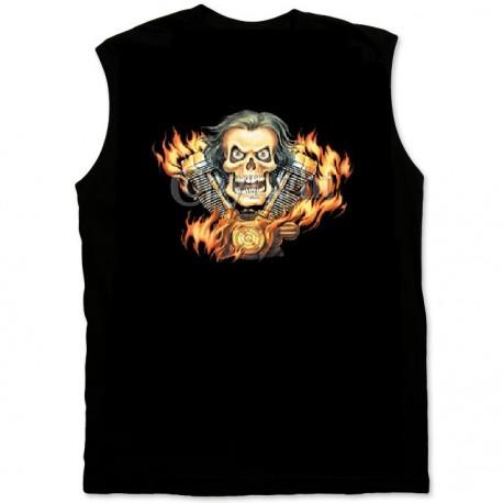 Pánské tričko bez rukávů - Skull & Motor