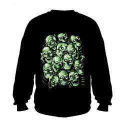 Pánská mikina bez kapuce - Green Skulls