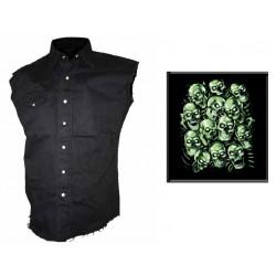 Pánská košile s potiskem - Green Skulls