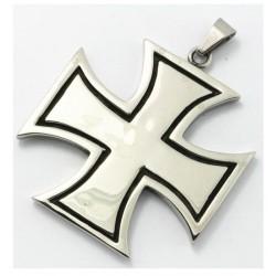 Ocelový přívěsek - Bílý kříž