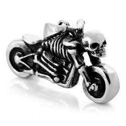 Ocelový přívěsek - Kostlivec na motorce