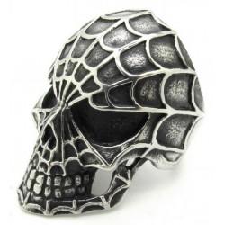 Prsten z chirurgické oceli - Lebka s pavučinou