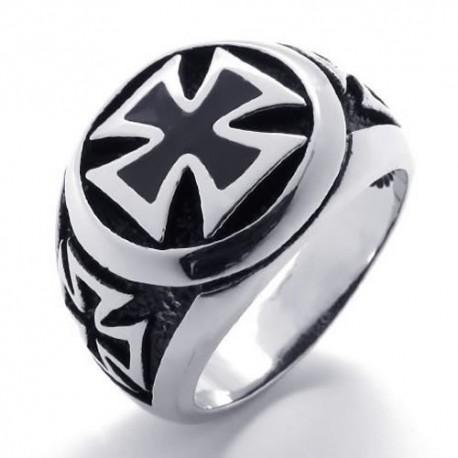 Prsten z chirurgické oceli - Maltézský kříž
