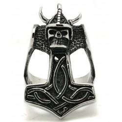 Prsten z chirurgické oceli - Thorovo kladivo s lebkou
