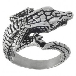 Prsten z chirurgické oceli - Krokodýl