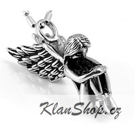 Ocelový přívěsek - Smutný anděl