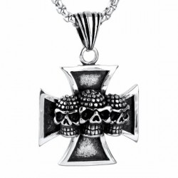 Ocelový přívěsek - Kříž s lebkami