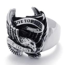 Prsten z chirurgické oceli - Orlice Live To Ride