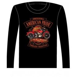 Pánské tričko s dlouhým rukávem - American Pride Live To Ride