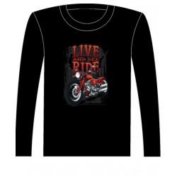 Pánské tričko s dlouhým rukávem - Live And Let Ride