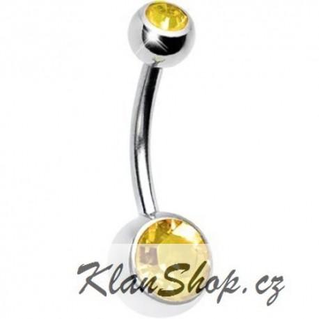 Piercing do pupíku - Žluté kamínky