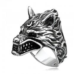Prsten z chirurgické oceli - Vlk s plameny