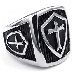 Prsten z chirurgické oceli - Rytířský kříž