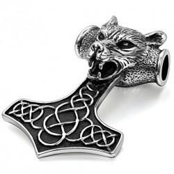 Ocelový přívěsek - Thorovo Kladivo - Vlk