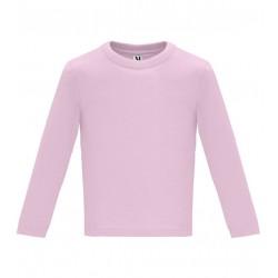 Dětské tričko s dlouhým rukávem 6M-24M - Světle růžové