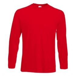 Pánské tričko s dlouhým rukávem bez potisku - Červené