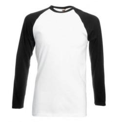 Pánské tričko s dlouhým rukávem bez potisku - Bíločerné