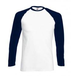 Pánské tričko s dlouhým rukávem bez potisku - Bílomodré