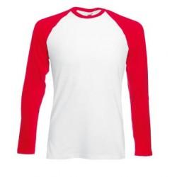 Pánské tričko s dlouhým rukávem bez potisku - Bíločervené