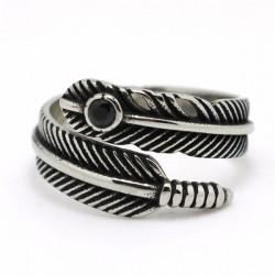 Prsten z chirurgické oceli - Pírko