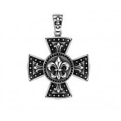 Ocelový přívěsek - Kříž s ornamenty