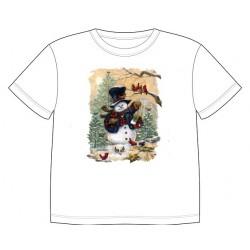 Dětské tričko se zimním motivem - Sněhulák s ptáčky